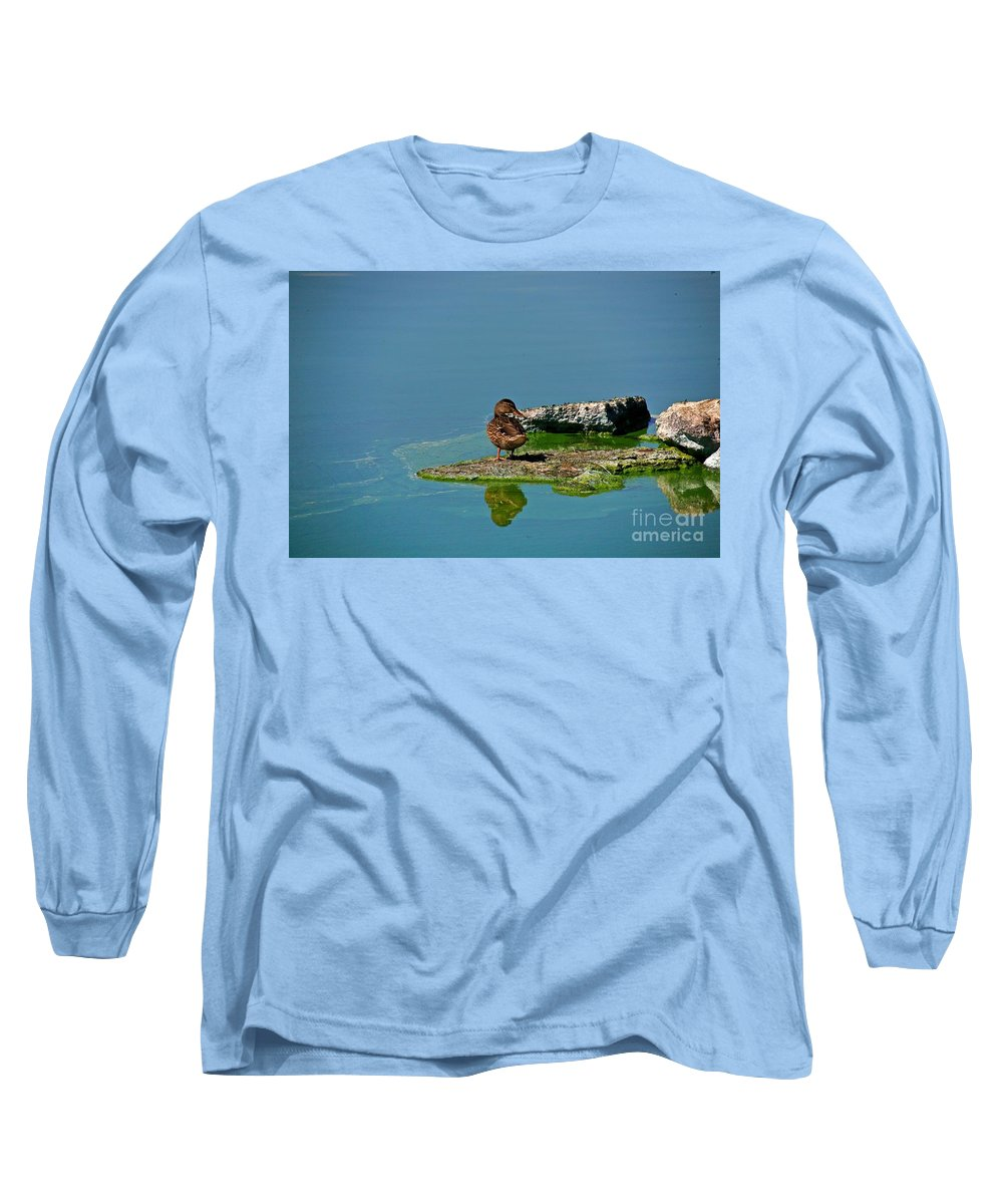 Duck Long Sleeve T-Shirt featuring the photograph Alone by Robert Pearson
