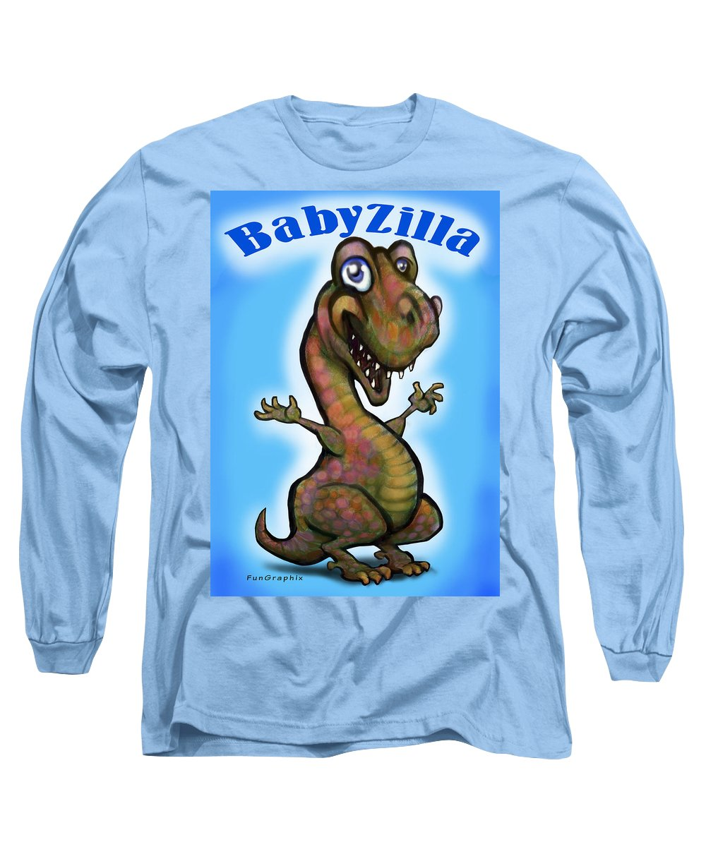 Babyzilla Long Sleeve T-Shirt featuring the greeting card Babyzilla by Kevin Middleton
