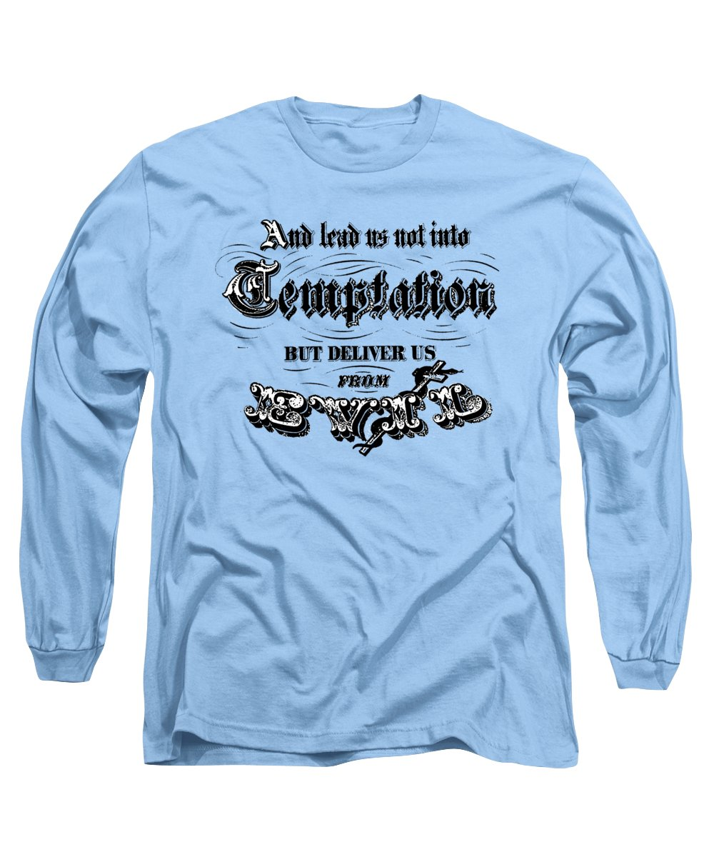 Temptation Long Sleeve T-Shirt featuring the digital art Deliver Us From Evil Tee by Edward Fielding