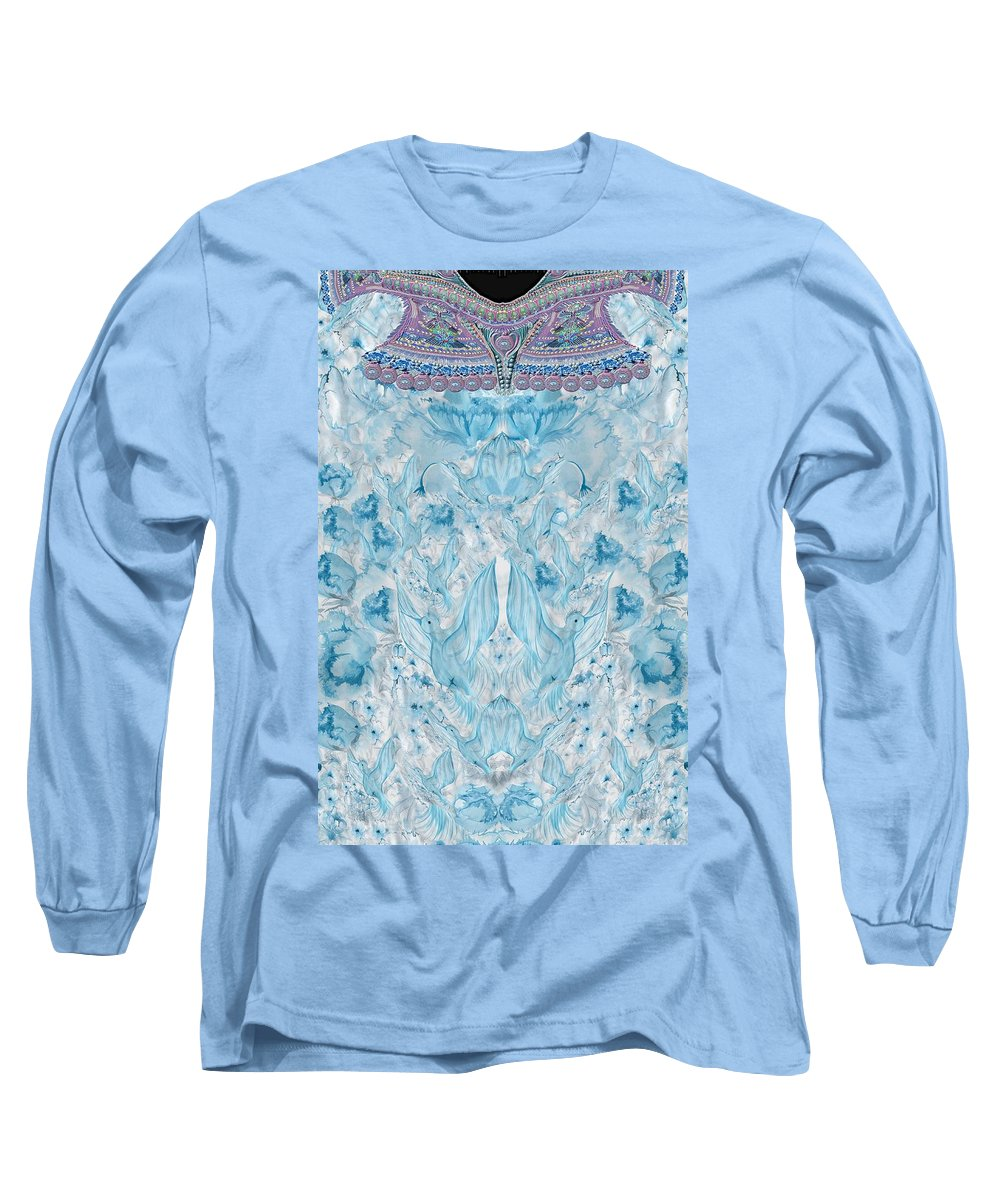 Dove Long Sleeve T-Shirt featuring the digital art Dove And Peonies by Sandrine Kespi