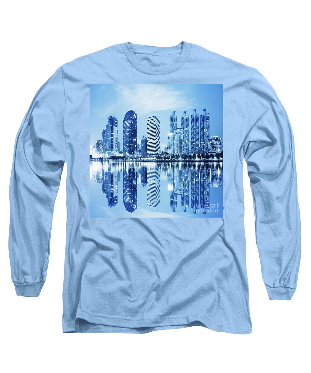 Architecture Long Sleeve T-Shirt featuring the photograph Night Scenes Of City 1 by Setsiri Silapasuwanchai