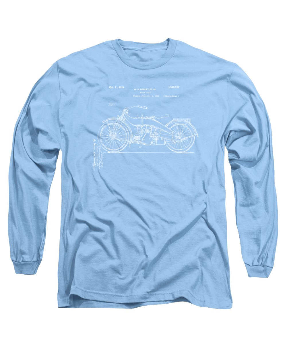 Harley-davidson Long Sleeve T-Shirt featuring the digital art 1924 Harley Motorcycle Patent Artwork Blueprint by Nikki Marie Smith