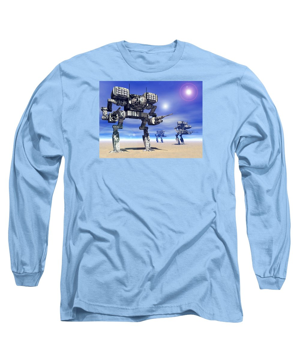 Science Fiction Long Sleeve T-Shirt featuring the digital art 501st Mech Trinary by Curtiss Shaffer