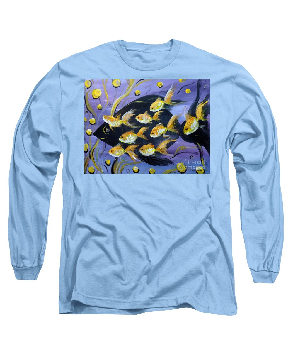 Fish Long Sleeve T-Shirt featuring the painting 8 Gold Fish by Gina De Gorna