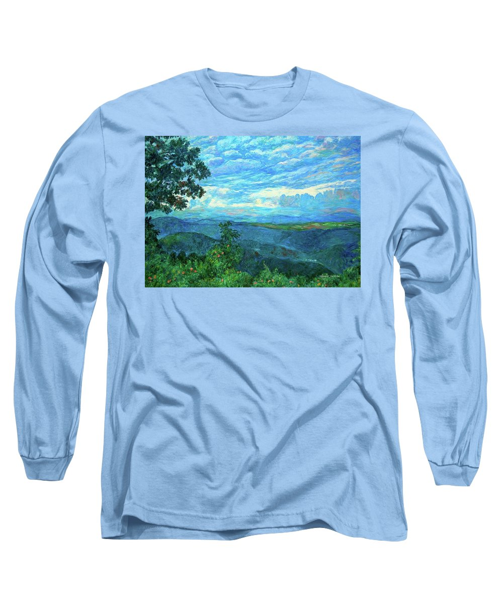 Mountains Long Sleeve T-Shirt featuring the painting A Break In The Clouds by Kendall Kessler