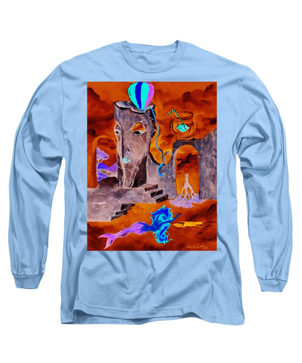 Surreal Sky Mermaids Trees Stairs Heaven Long Sleeve T-Shirt featuring the painting A Few Seconds In My Head by Veronica Jackson