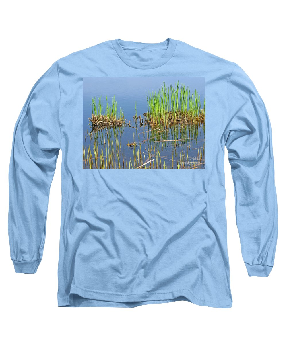 Spring Long Sleeve T-Shirt featuring the photograph A Greening Marshland by Ann Horn