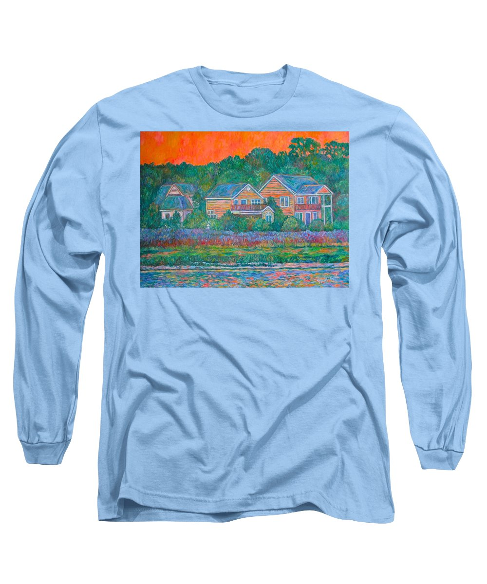 Landscape Long Sleeve T-Shirt featuring the painting Across The Marsh At Pawleys Island    by Kendall Kessler