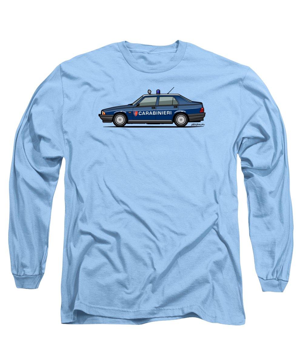 Car Long Sleeve T-Shirt featuring the digital art Alfa Romeo 75 Tipo 161, 162b Milano Carabinieri Italian Police Car by Monkey Crisis On Mars
