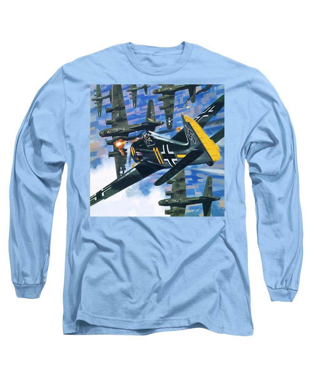 American Bombing Raid Long Sleeve T-Shirt featuring the painting American Bombing Raid Over Europe In July 1943 by Wilf Hardy