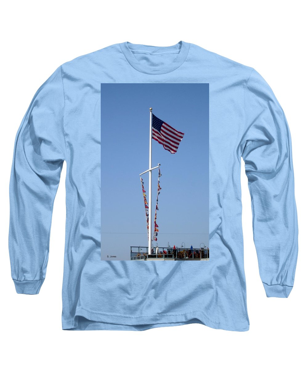 American Flag Long Sleeve T-Shirt featuring the photograph American Flag by Shelley Jones