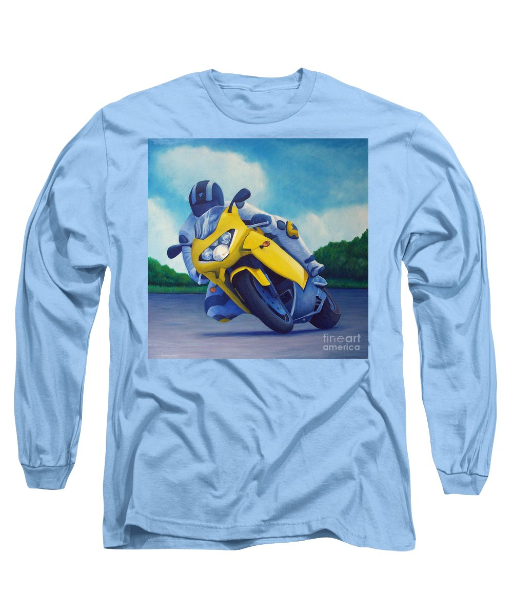 Motorcycle Long Sleeve T-Shirt featuring the painting Aprilla - Tuesday Afternoon by Brian Commerford