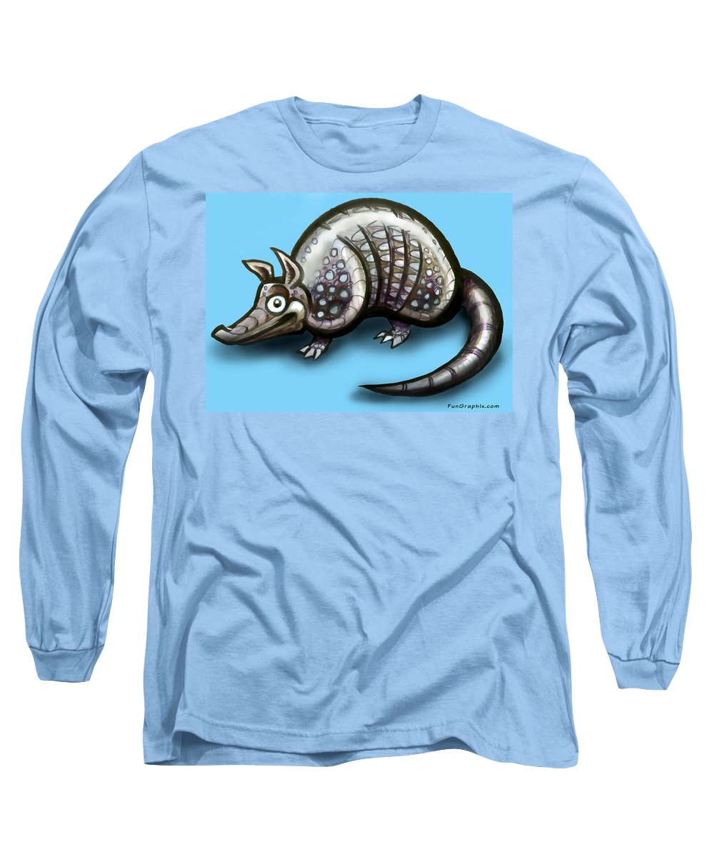 Armadillo Long Sleeve T-Shirt featuring the greeting card Armadillo by Kevin Middleton