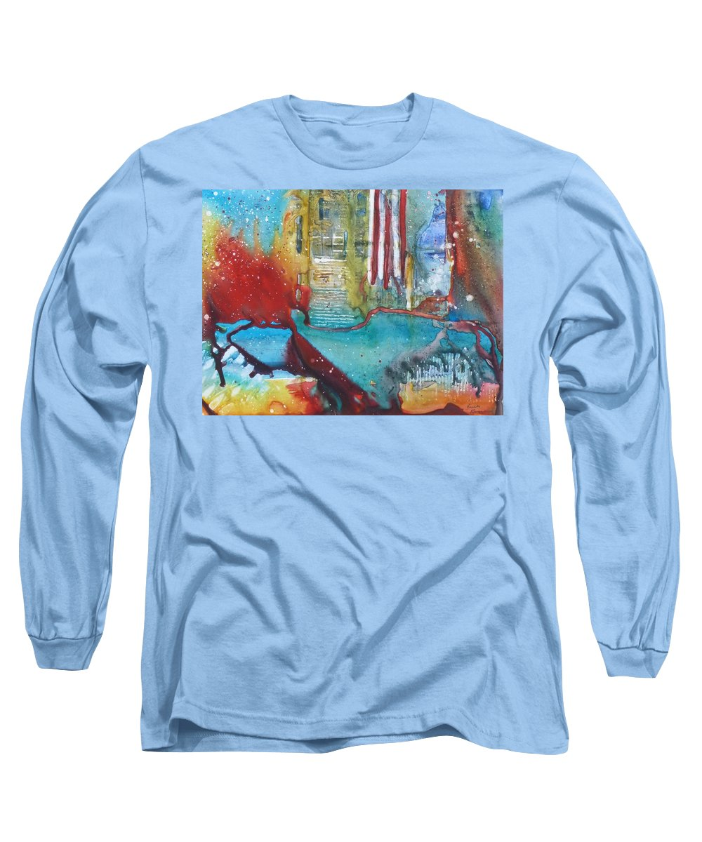 Abstract Long Sleeve T-Shirt featuring the painting Atlantis Crashing Into The Sea by Ruth Kamenev
