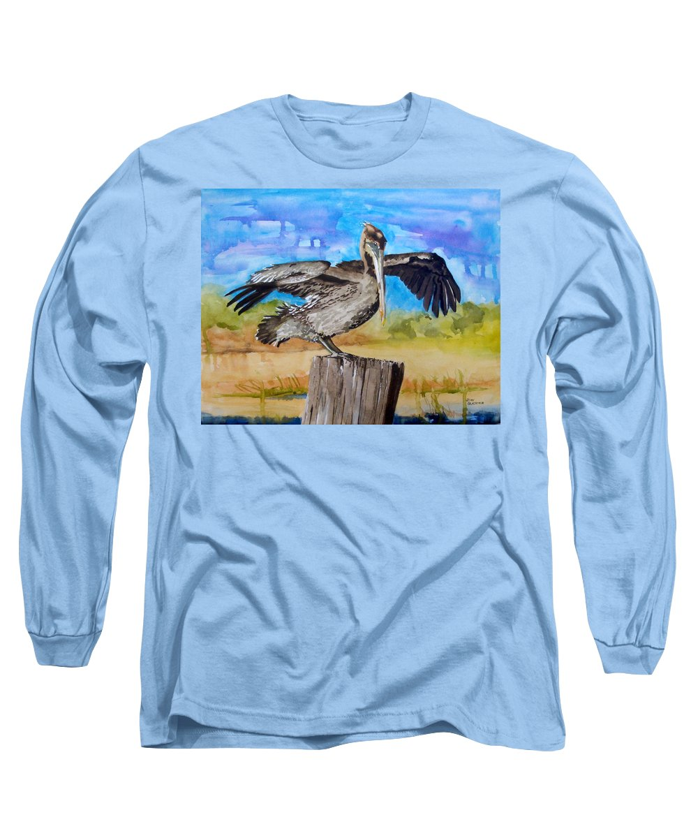 Pelican Long Sleeve T-Shirt featuring the painting Baby Spreads His Wings by Jean Blackmer
