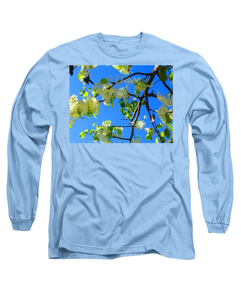 Tree Blossoms Long Sleeve T-Shirt featuring the painting Backlit White Tree Blossoms by Amy Vangsgard