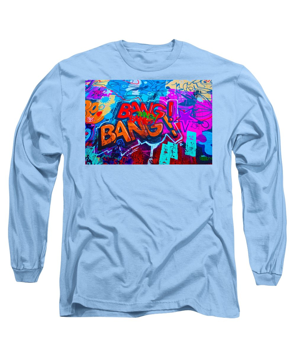 Bang Graffiti Long Sleeve T-Shirt featuring the painting Bang Graffiti Nyc 2014 by Joan Reese