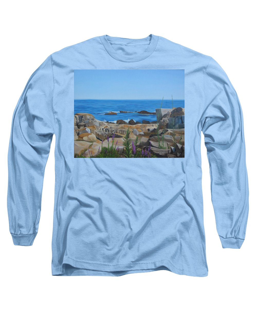 Seascape Long Sleeve T-Shirt featuring the painting Bass Rocks Gloucester by Lea Novak