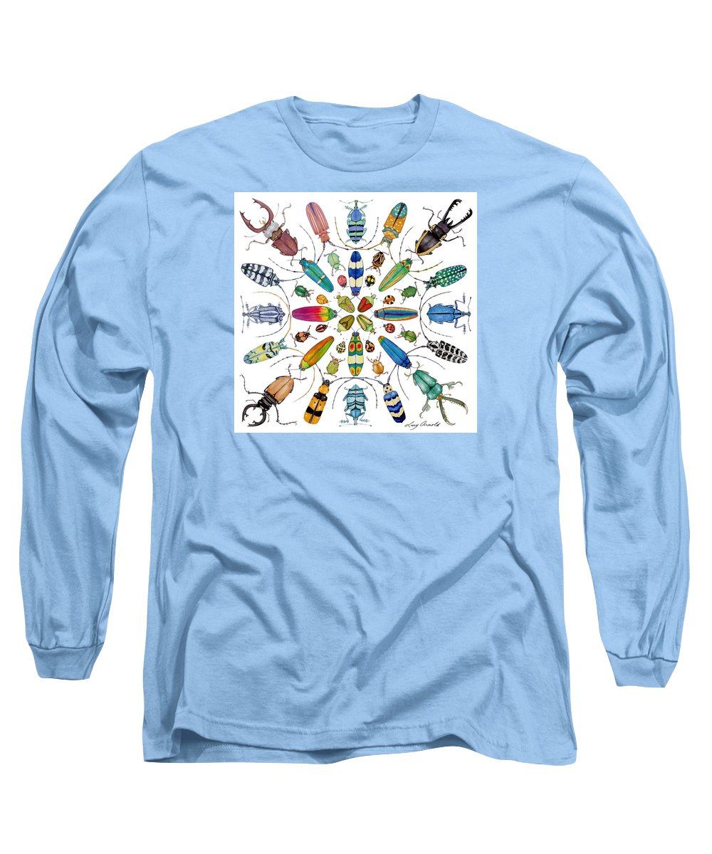 Insects Long Sleeve T-Shirt featuring the painting Beautiful Beetles by Lucy Arnold