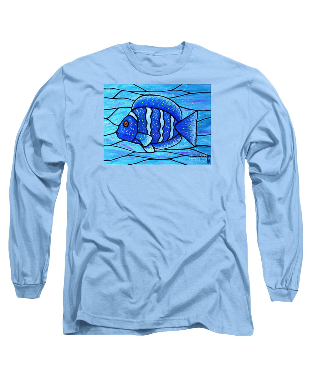 Tropical Fish Long Sleeve T-Shirt featuring the painting Beckys Blue Tropical Fish by Jim Harris
