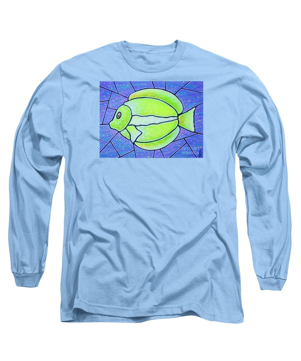 Tropical Fish Long Sleeve T-Shirt featuring the painting Beckys Yellow Tropical Fish by Jim Harris