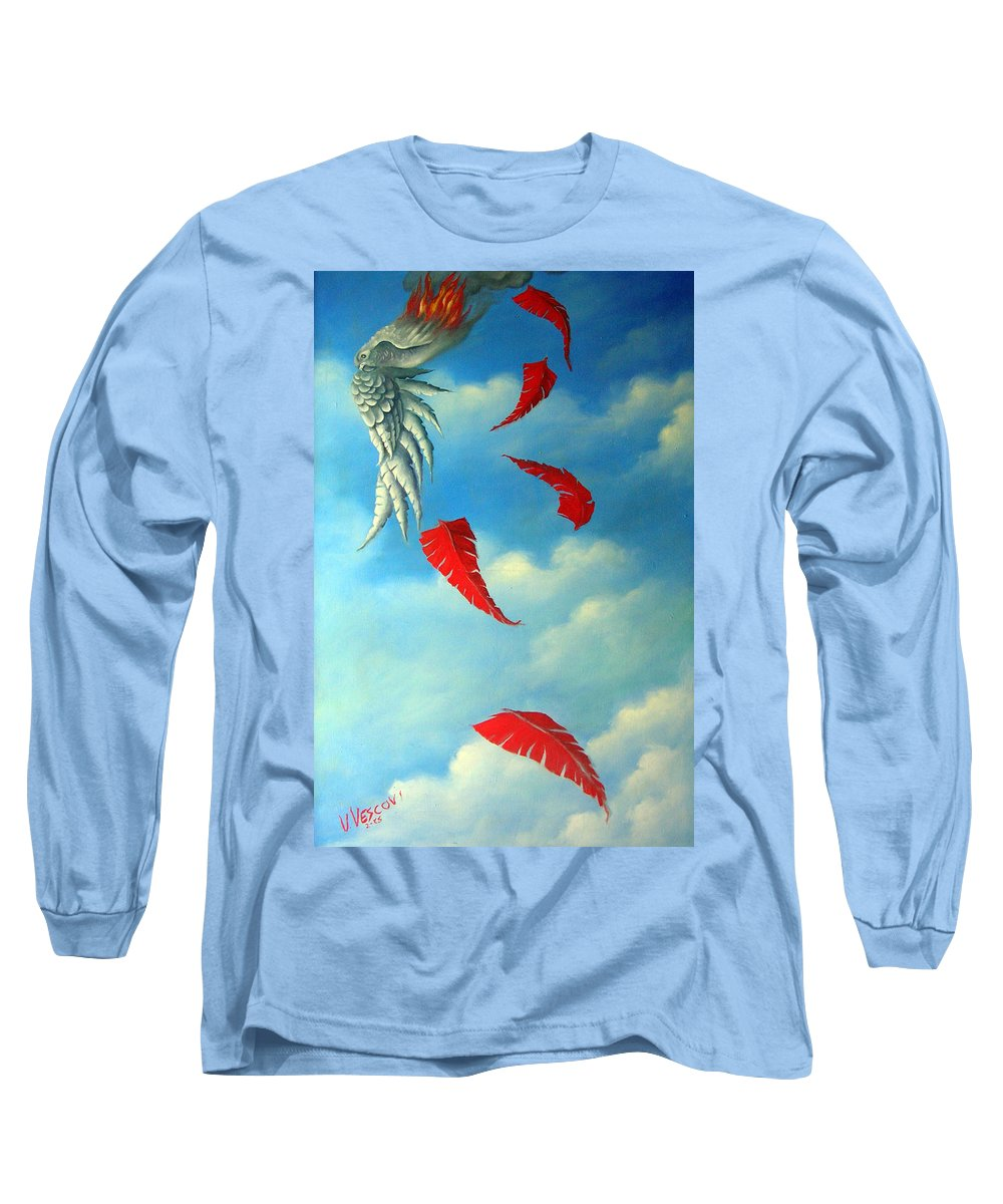 Surreal Long Sleeve T-Shirt featuring the painting Bird On Fire by Valerie Vescovi