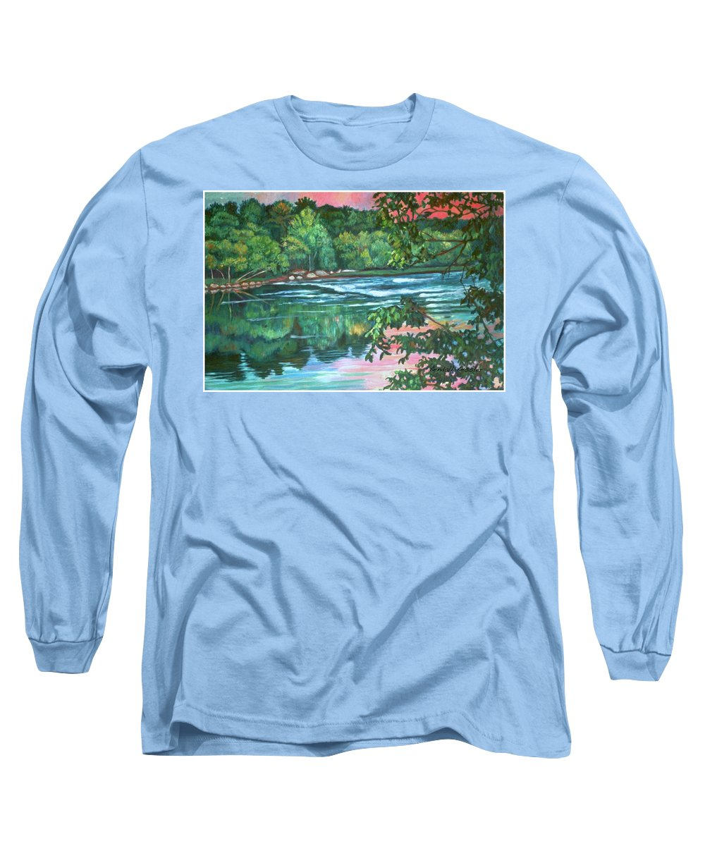 River Long Sleeve T-Shirt featuring the painting Bisset Park Rapids by Kendall Kessler