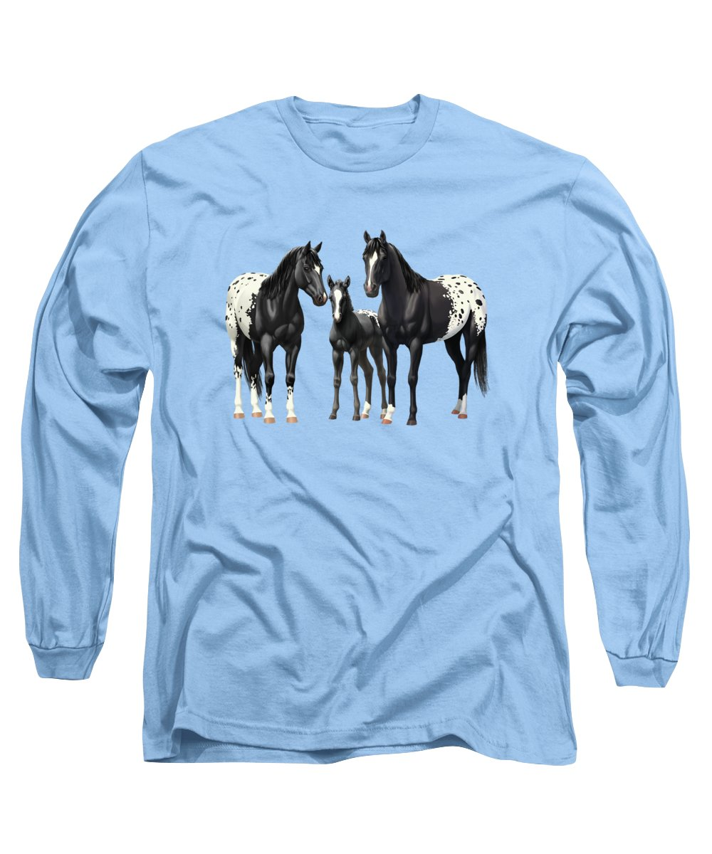 Black Horse Long Sleeve T-Shirt featuring the painting Black Appaloosa Horses In Winter Pasture by Crista Forest