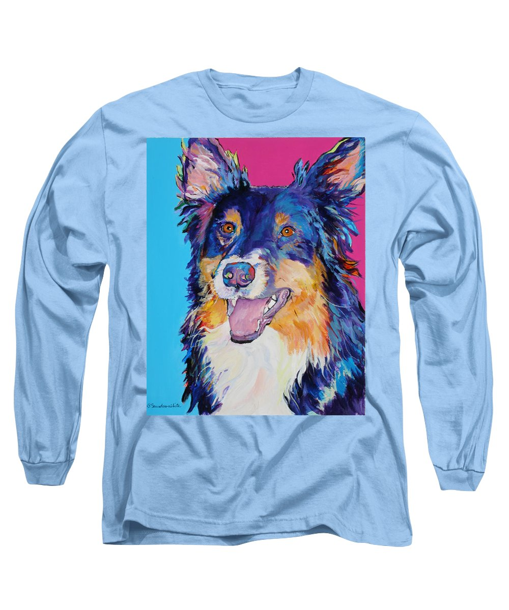 Dog Long Sleeve T-Shirt featuring the painting Blackjack by Pat Saunders-White
