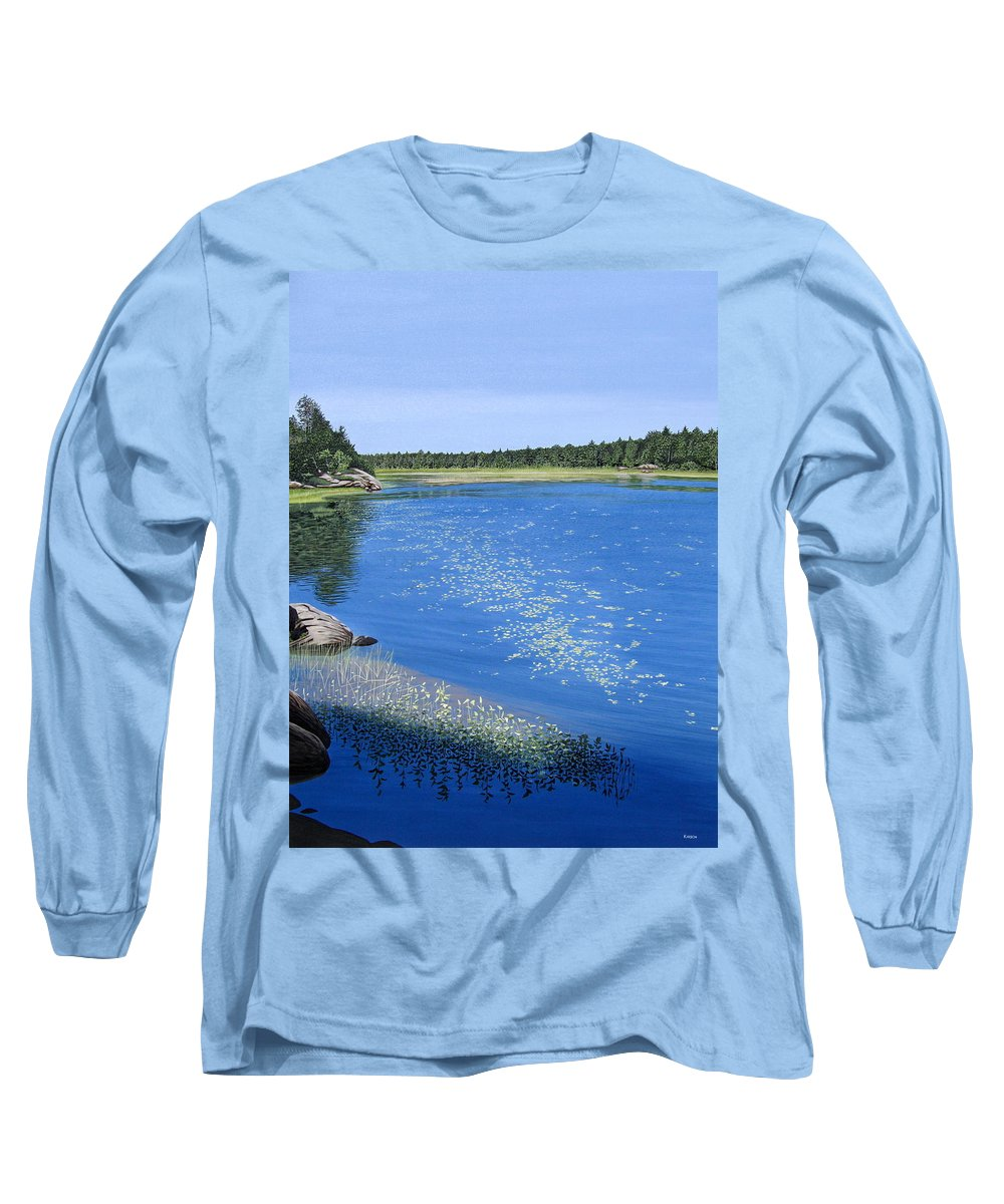 Landscapes Long Sleeve T-Shirt featuring the painting Blackstone Bog by Kenneth M Kirsch