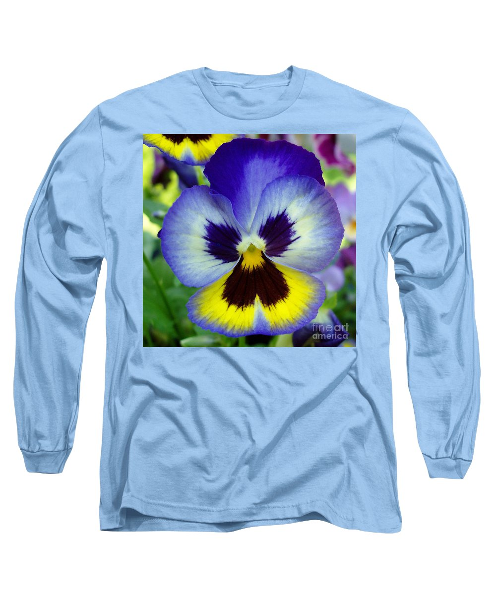 Flowers Long Sleeve T-Shirt featuring the photograph Blue And Yellow Pansy by Nancy Mueller