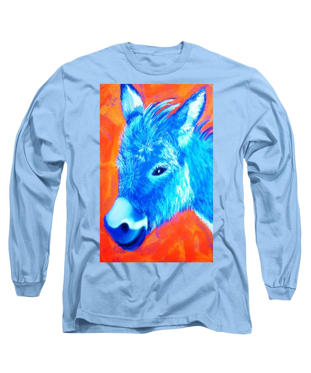 Burro Long Sleeve T-Shirt featuring the painting Blue Burrito by Melinda Etzold