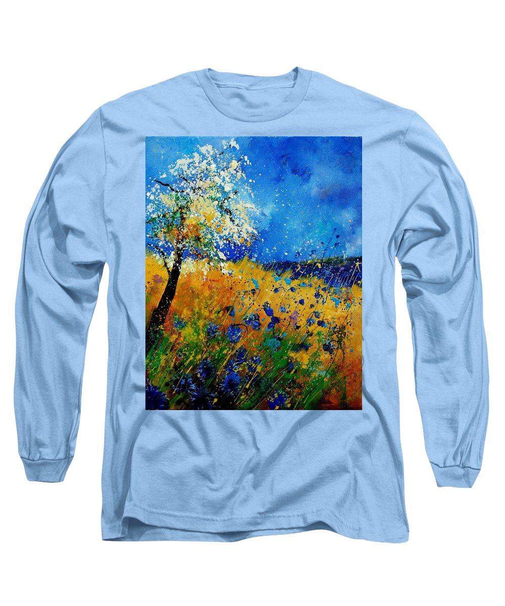 Poppies Long Sleeve T-Shirt featuring the painting Blue Cornflowers 450108 by Pol Ledent