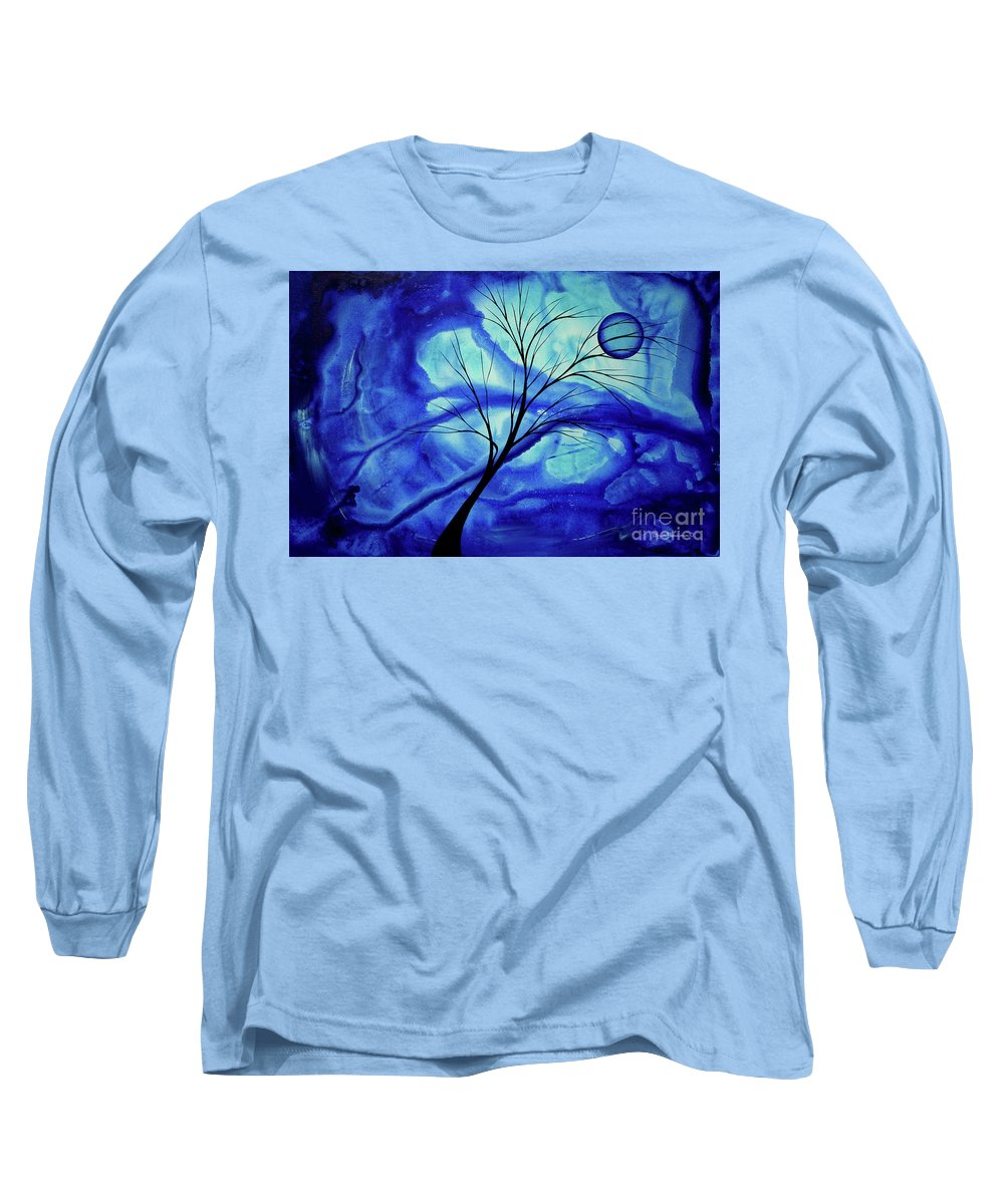 Abstract Long Sleeve T-Shirt featuring the painting Blue Depth Abstract Original Acrylic Landscape Moon Painting By Megan Duncanson by Megan Duncanson
