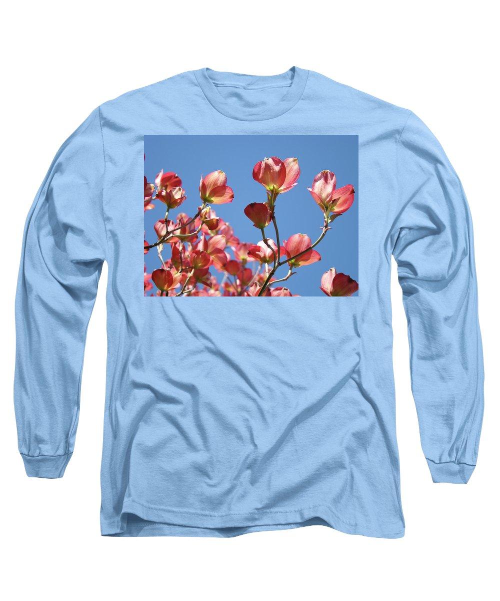 Dogwood Long Sleeve T-Shirt featuring the photograph Blue Sky Art Prints Pink Dogwood Flowers 16 Dogwood Tree Art Prints Baslee Troutman by Baslee Troutman