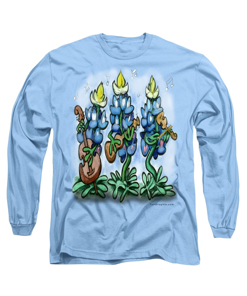 Bluebonnet Long Sleeve T-Shirt featuring the digital art Blues Bonnets by Kevin Middleton