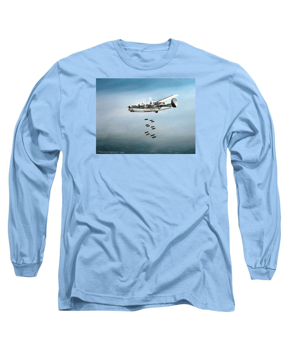 Aviation Long Sleeve T-Shirt featuring the painting Bombs Away by Marc Stewart