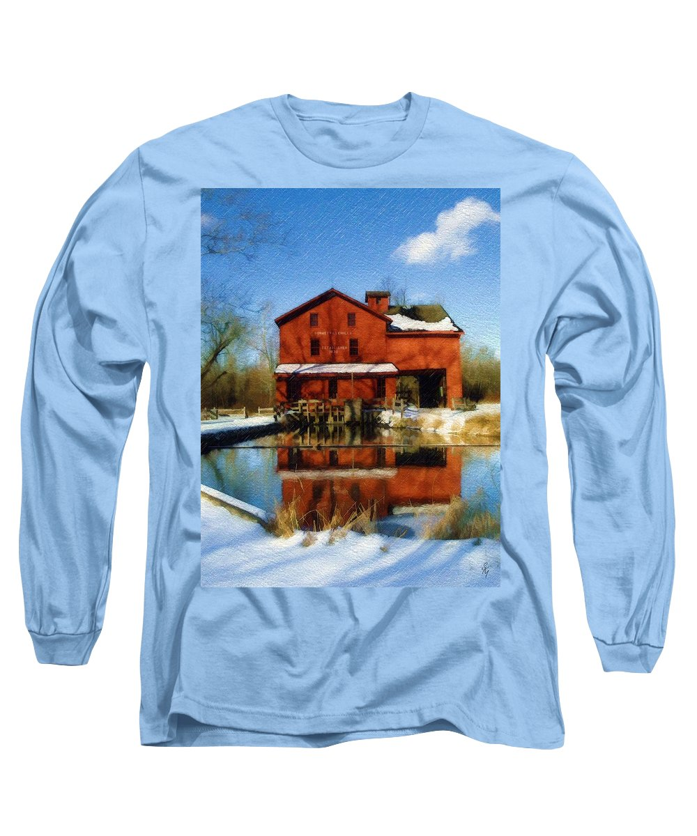 Bonneyville Mill Long Sleeve T-Shirt featuring the photograph Bonneyville In Winter by Sandy MacGowan
