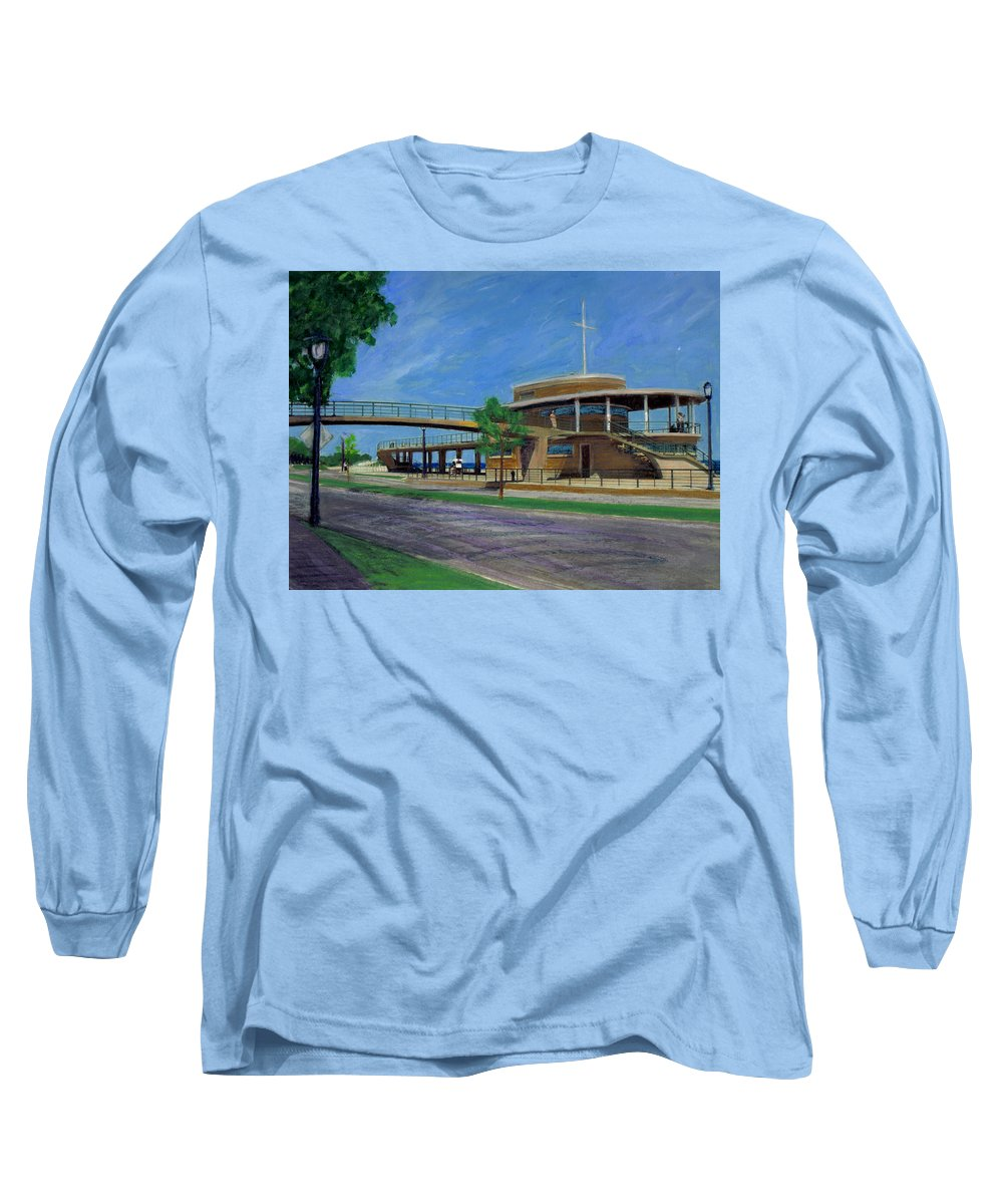 Miexed Media Long Sleeve T-Shirt featuring the mixed media Bradford Beach House by Anita Burgermeister