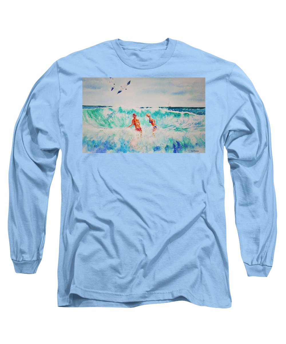 Surf Long Sleeve T-Shirt featuring the painting Brooke And Carey In The Shore Break by Tom Harris