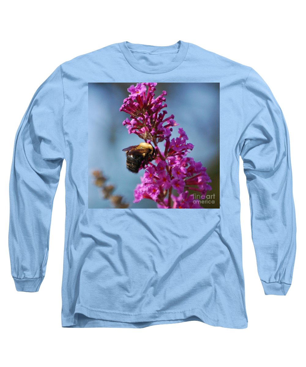 Bee Long Sleeve T-Shirt featuring the photograph Buzzed by Debbi Granruth