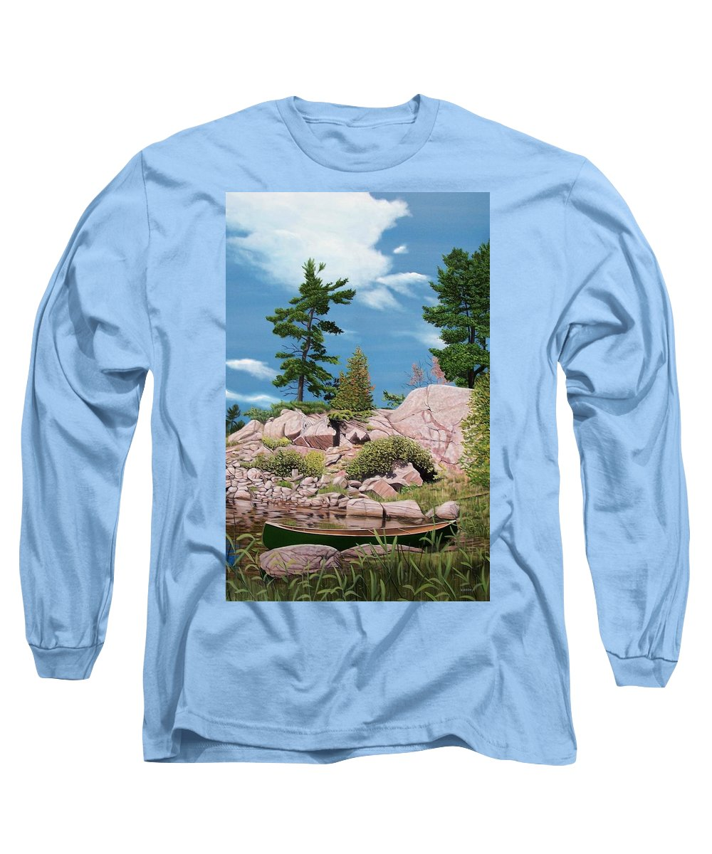 Landscapes Long Sleeve T-Shirt featuring the painting Canoe Among The Rocks by Kenneth M Kirsch