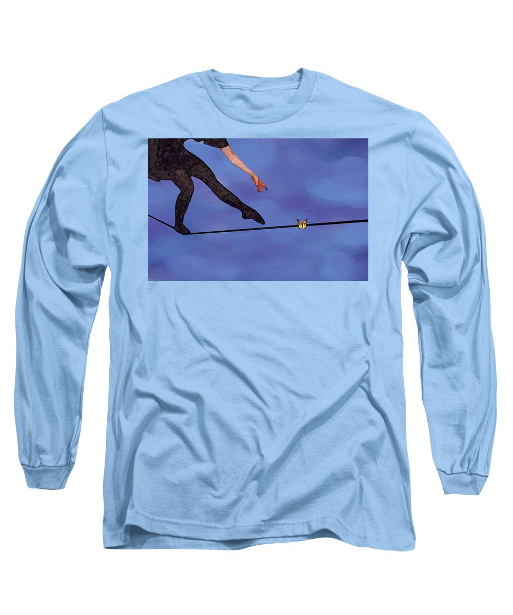 Surreal Long Sleeve T-Shirt featuring the painting Catching Butterflies by Steve Karol