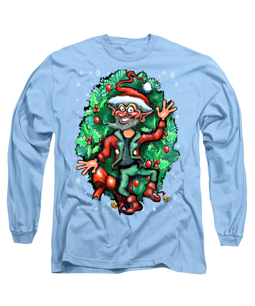 Christmas Long Sleeve T-Shirt featuring the digital art Christmas Elf by Kevin Middleton