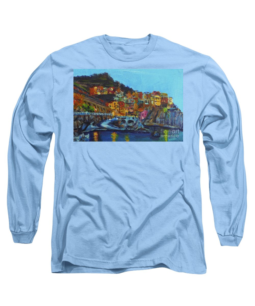 Cinque Terre Long Sleeve T-Shirt featuring the painting Cinque Terre by Laura Toth