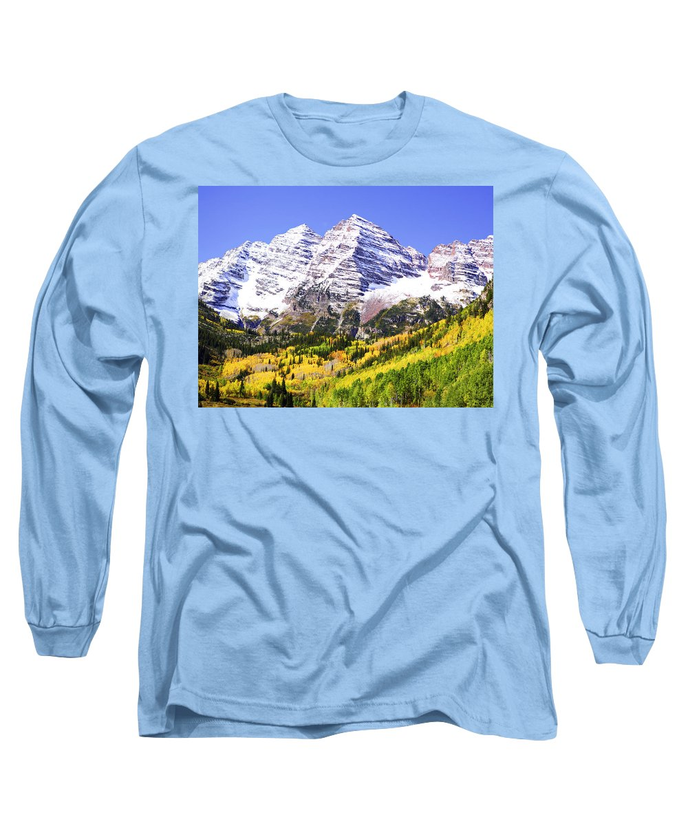 Americana Long Sleeve T-Shirt featuring the photograph Classic Maroon Bells by Marilyn Hunt