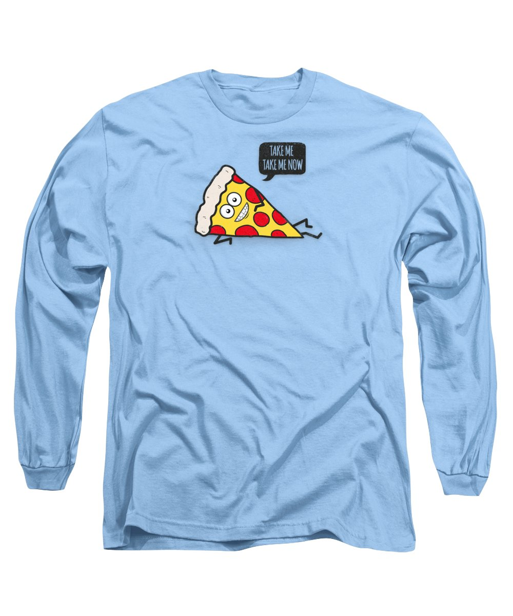 Pizza Long Sleeve T-Shirt featuring the digital art Cool and Trendy Pizza Pattern in Super Acid green  turquoise  blue by Philipp Rietz