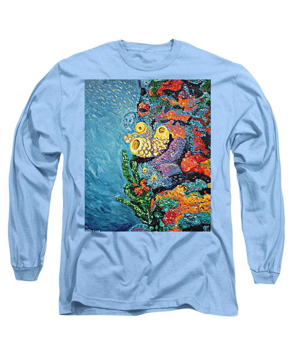 Coral Long Sleeve T-Shirt featuring the painting Coral With Cucumber by Ericka Herazo