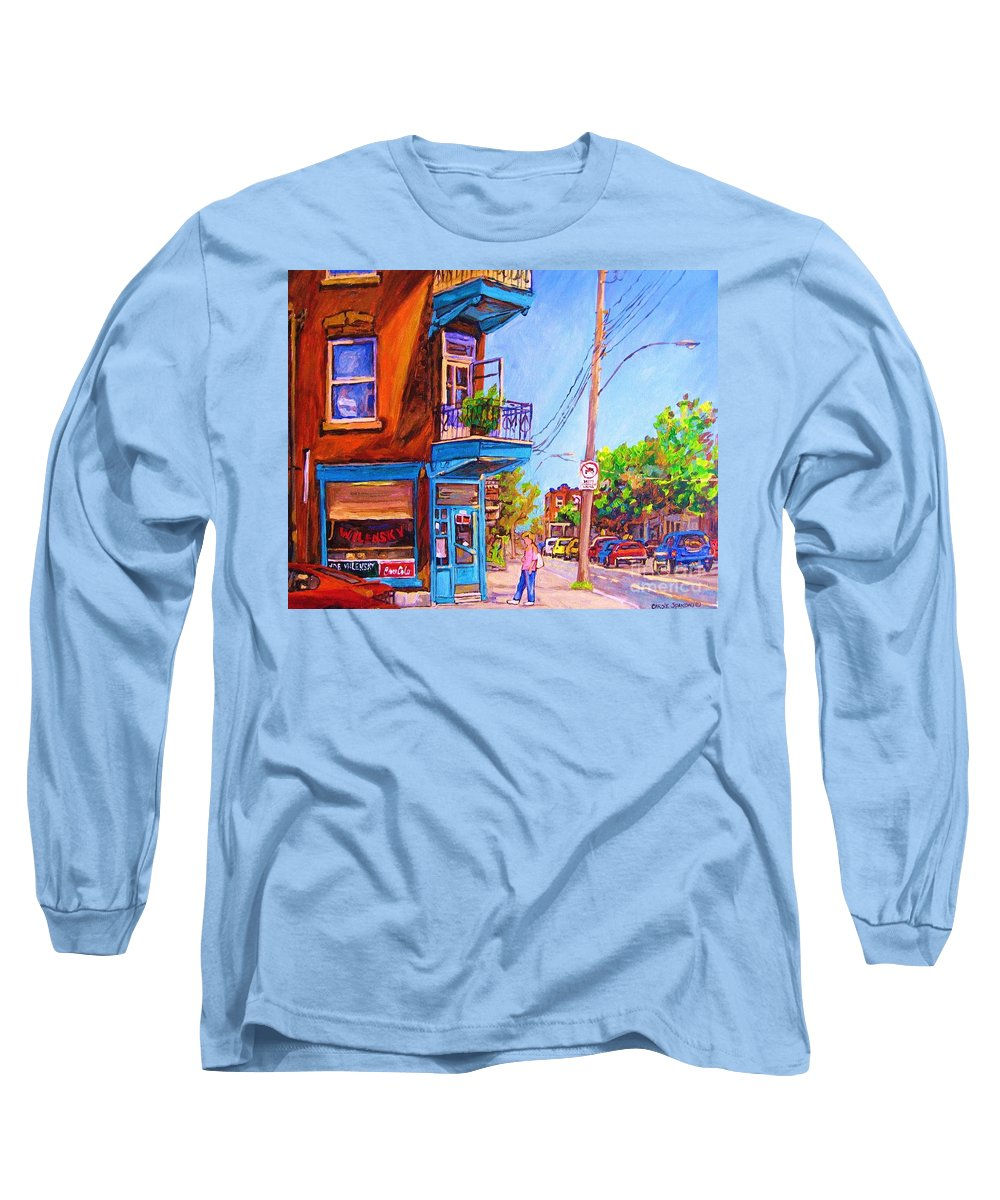Wilenskys Corner Fairmount And Clark Long Sleeve T-Shirt featuring the painting Corner Deli Lunch Counter by Carole Spandau