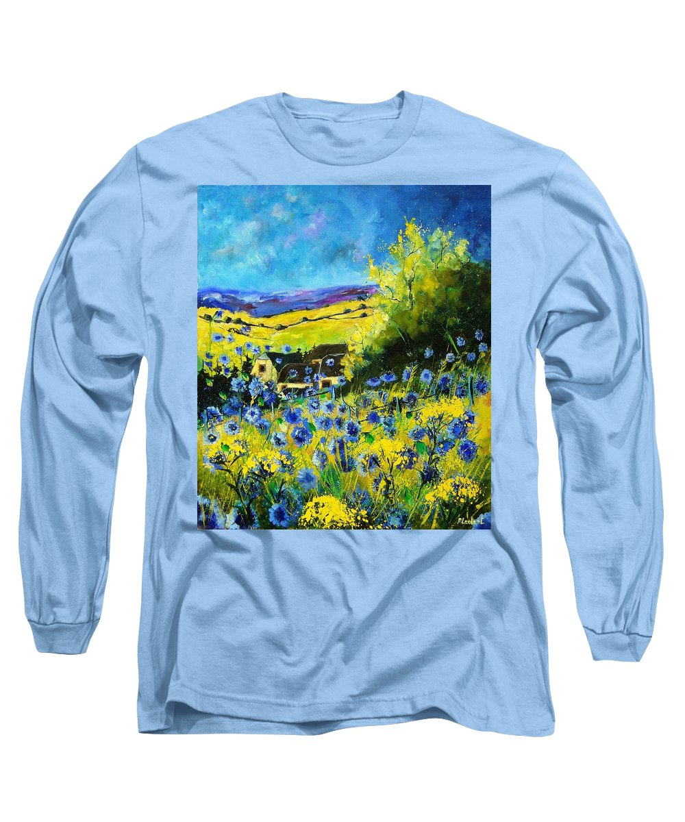 Flowers Long Sleeve T-Shirt featuring the painting Cornflowers In Ver by Pol Ledent